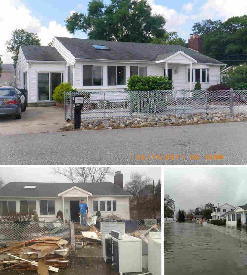 Top: Doug Quinn's home in 2011. Left: Damaged materials from inside Quinn's home in January, 2013. Right: Water flooded Quinn's street the day after Superstorm Sandy.