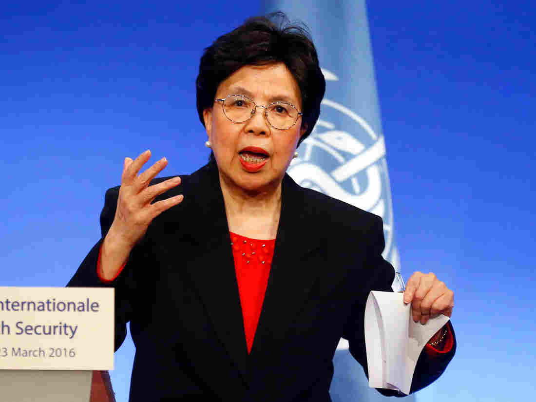 World Health Organization head Dr. Margaret Chan delivering a speech in March of this year at a summit in Lyon, France.