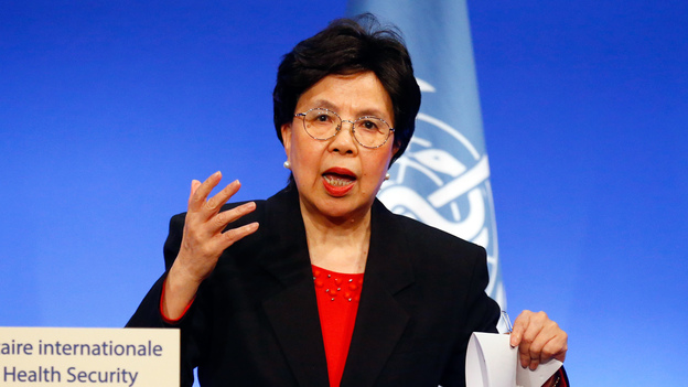 World Health Organization head Dr. Margaret Chan delivering a speech in March of this year at a summit in Lyon, France. (AP)
