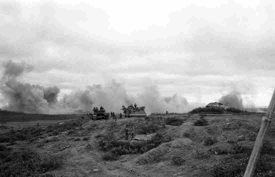 Smoke rises from a B52 air strike on a North Vietnamese tank column about 15 miles west of Dong Ha on April 18, 1972. Quang Tri province was hit hardest in the war.