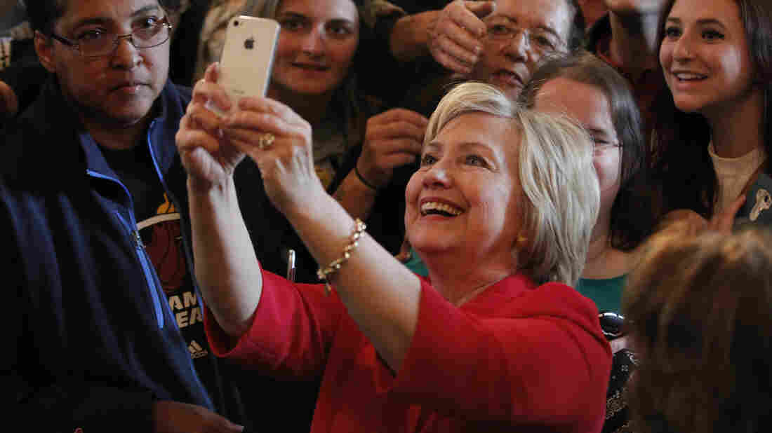 Clinton takes a selfie with campaign supporters after her address at a campaign rally at La Gala May 16, 2016, in Bowling Green, Kentucky.