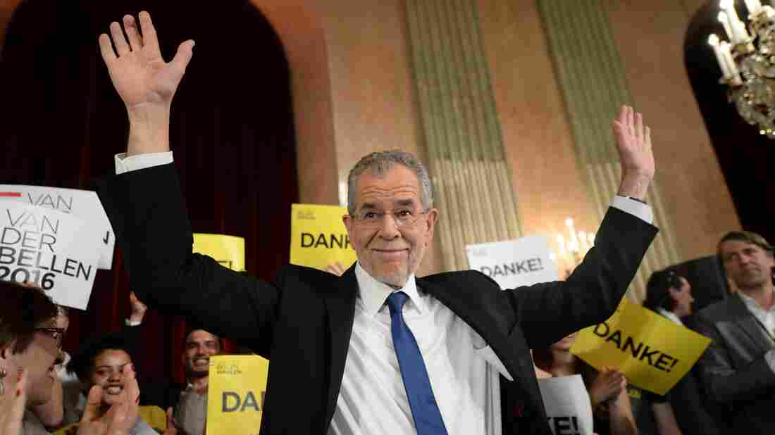 Alexander Van der Bellen, who was backed by the Green Party, celebrates during an election party Sunday in Vienna.