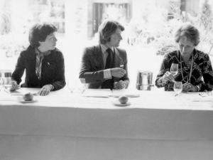 "This one shows Patricia Gallagher, who first proposed a tasting of California, Steven Spurrier. and Odette Kahn, the editor of the publication ""Revue des Vins de France."""