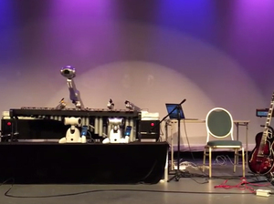 Shimon the robot performs with a human colleague at Moogfest in Durham, N.C. on May 22.