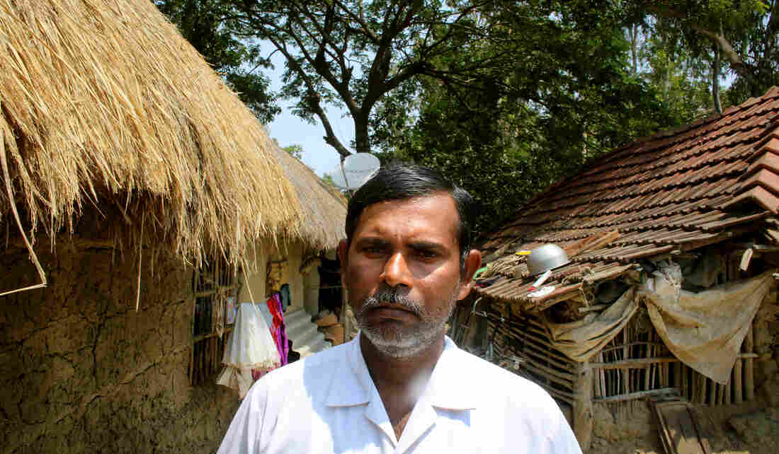 Rubil Saha has lived on Ghoramara his whole life. Saha's parents and other relatives have all left. The 45-year-old farmer worries about continually having to rebuild his house, but chooses to stay on the island.