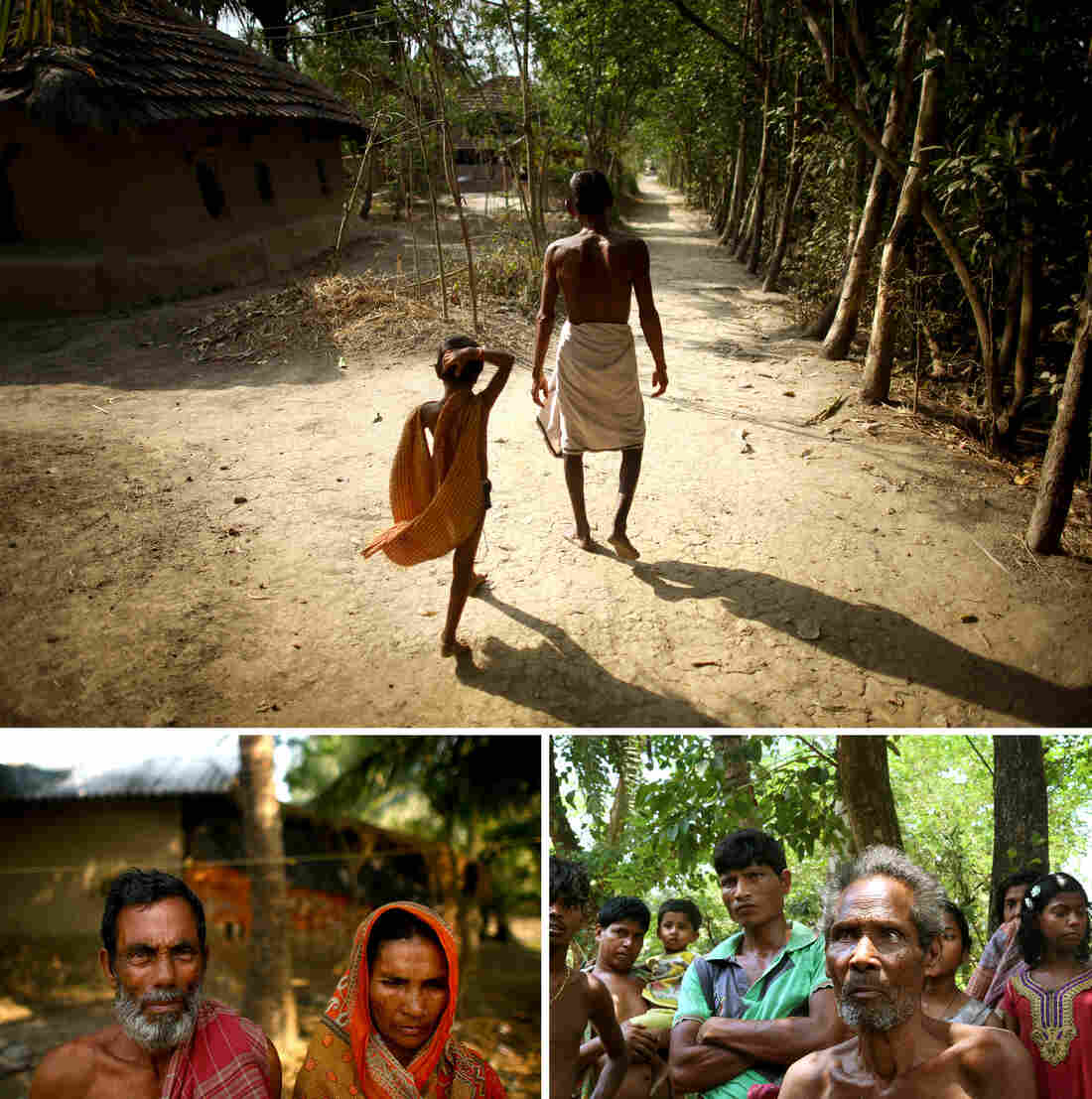 Thousands have been relocated from Ghoramara island to nearby Sagar island, including (counterclockwise from top) Sushil Mali, who walks with his grandson, Muntaz Sheikh and his wife, Zarina Bibi. Debendra Tarek, 80, standing with other villagers, has stayed on Ghoramara.