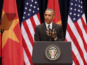 President Obama delivers a speech to the Vietnamese people at the National Convention Center in Hanoi on Tuesday.