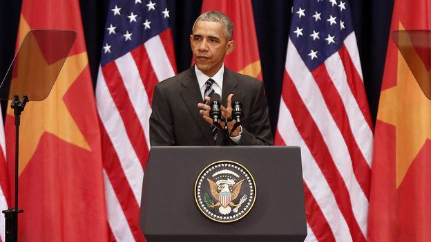 President Barack Obama delivers a speech to the Vietnamese people at the National Convention Center in Hanoi on Tuesday. (AP)