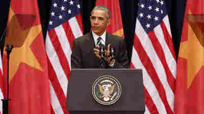President Obama delivers a speech at the National Convention Center in Hanoi on Tuesday.