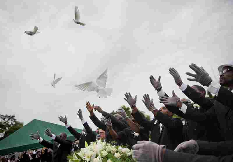 On Jan. 25, 2015, pallbearers release doves over the casket of Ethel Lance, one of the nine people killed in the shooting at Emanuel AME Church in Charleston, S.C.