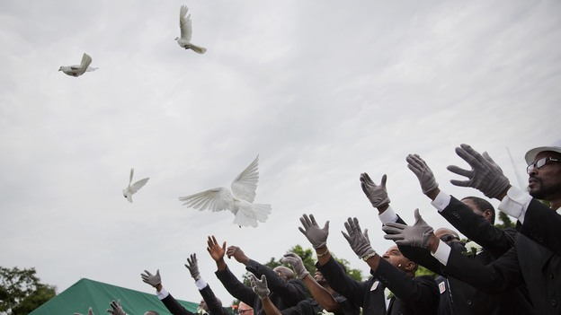 On Jan. 25, 2015, pallbearers release doves over the casket of Ethel Lance, one of the nine people killed in the shooting at Emanuel AME Church in Charleston, S.C. (AP)