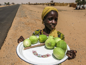 A girl sells vegetables in Assaga refugee camp. The Sahara-desert nation's main east-west highway, running through the heart of the camp, stretches out behind her.