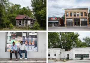 Structures in North, S.C., show signs of decay in the main section of town. A lifetime resident of North, Gerald D. Green, left, and Jeff Washington, who has lived in the town for 18 years, sit outside a gas station.
