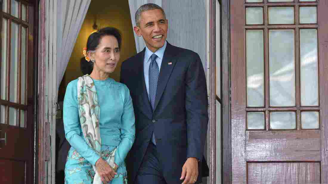President Obama meets with Myanmar's Aung San Suu Kyi in Yangon, Myanmar in 2014. Suu Kyi was the opposition leader at the time. She effectively became the country's leader this year, marking an end to more than a half-century of military rule.