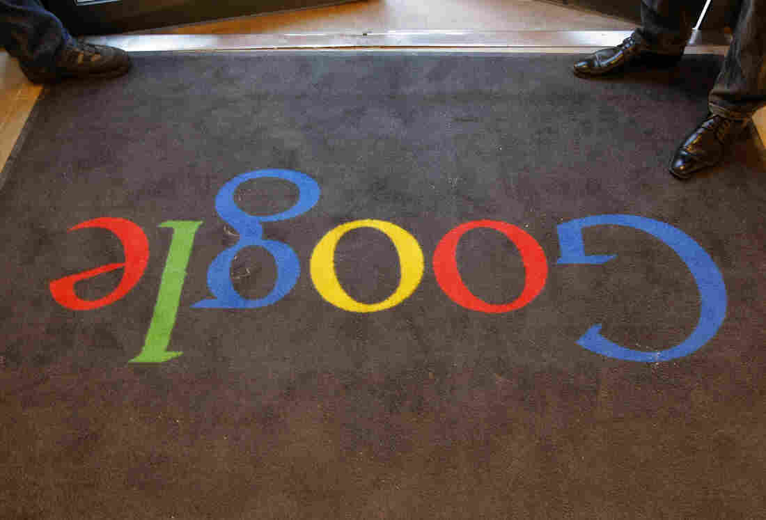 A carpet at the entrance of Google's offices in Paris.