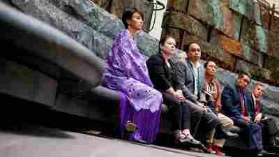 "U.S. officials and members of Native American Nations attend an ""emergency meeting"" at the Smithsonian National Museum of the American Indian, in Washington, D.C., on Tuesday. They were gathered to object to a Paris auction house's upcoming sale of objects sacred to Native Americans."