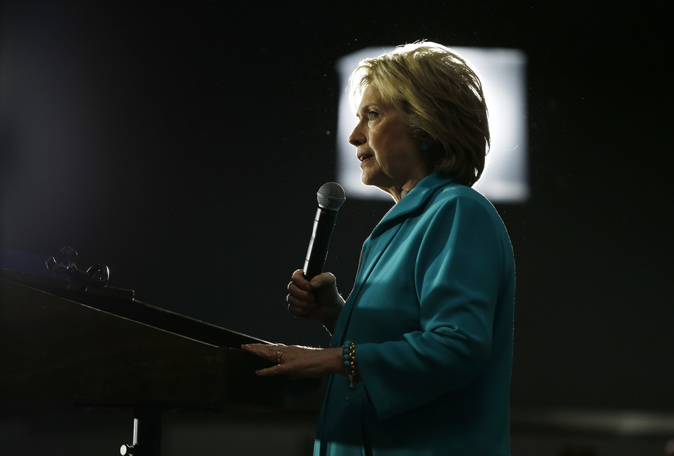 Democratic presidential candidate Hillary Clinton speaks at an International Brotherhood of Electrical Workers training center on Tuesday in Commerce, Calif. (John Locher/AP)