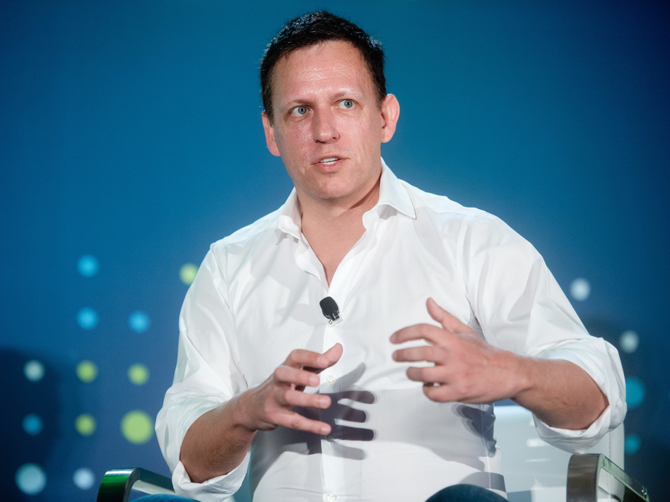 Peter Thiel, head of Clarium Capital Management and founding investor in PayPal and Facebook, speaks at a conference in San Francisco on April 12. (Noah Berger/Bloomberg/Getty Images)