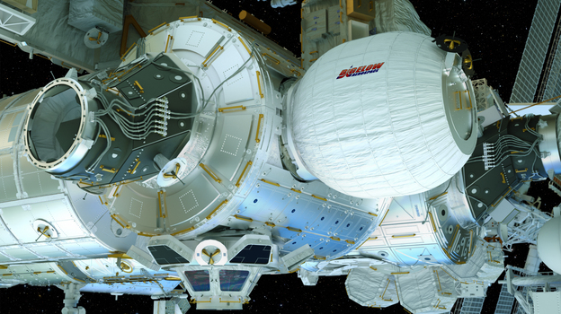 An artist's concept shows the Bigelow Expandable Activity Module, or BEAM, as it would look when fully installed and inflated on the International Space Station. (NASA)