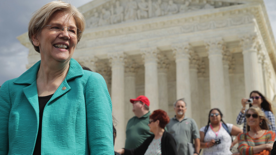 Sen. Elizabeth Warren at a news conference earlier this year urging Senate Republicans to confirm President Obama's Supreme Court nominee. (Chip Somodevilla/Getty Images)