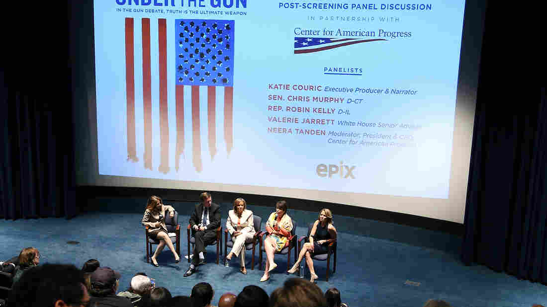 Katie Couric (right) and White House Senior Adviser Valerie Jarrett, speaking, participate in a panel discussion following a May 16 screening of Couric's documentary Under the Gun at the U.S. Navy Memorial in Washington.