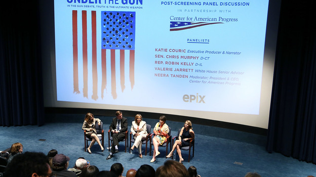 Katie Couric (right) and White House Senior Adviser Valerie Jarrett, speaking, participate in a panel discussion following a May 16 screening of Couric's documentary Under the Gun  at the U.S. Navy Memorial in Washington. (Getty Images for EPIX)