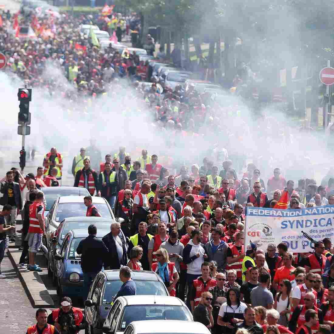 People demonstrate in Le Havre, in northwestern France, on Thursday. A series of protests and strikes have been held over the past few months, to oppose a government plan to change France's labor law.