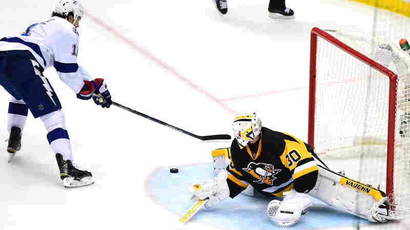 Pittsburgh Penguins goalie Matt Murray makes a kick save Thursday against Brian Boyle of the Tampa Bay Lightning during the third period in Game 7 of the Eastern Conference Finals in Pittsburgh.