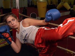 Alexander, a former kickboxing champ, came to the U.S. about 20 years ago to work as a stuntwoman. She has also worked with Marines and women in domestic violence shelters.