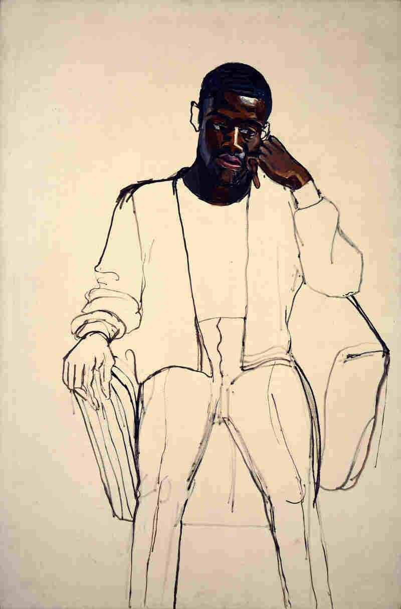 Alice Neel started work on James Hunter Black Draftee in 1965, but Mr. Hunter never came back for a second sitting.