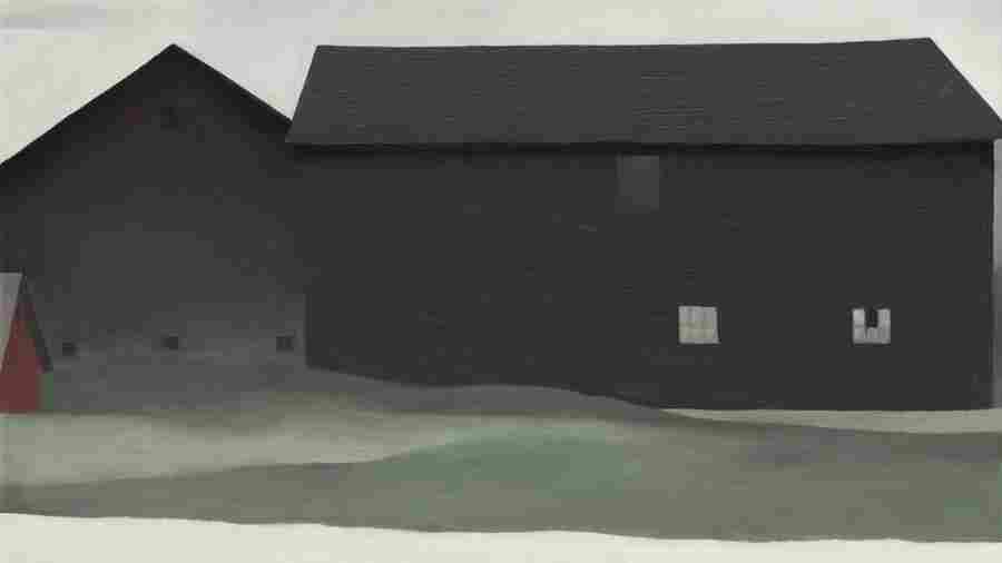 Georgia O'Keeffe's 1926 painting The Barns, Lake George, which has been privately owned and rarely displayed, but now joins the collection of the Georgia O'Keeffe Museum in Santa Fe.