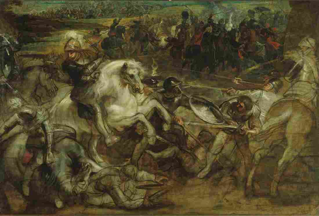 In 1630, a very frustrated Peter Paul Rubens quit working on this large canvas depicting Henri IV at the Battle of Ivry.