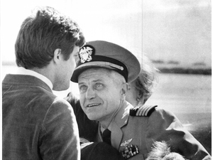 Jim Stockdale greets his father, Navy Captain James B. Stockdale at Miramar Naval Air Station on Feb. 15, 1973.