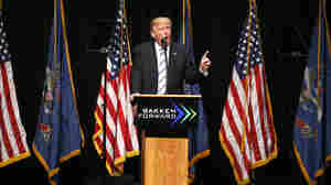 Donald Trump lays out his energy agenda at a press conference in Bismarck, N.D.