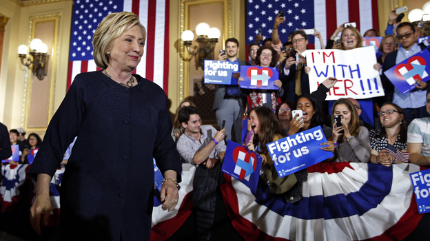Democratic presidential candidate Hillary Clinton at a rally Thursday in San Francisco. (AP)