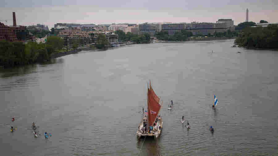 The Hokule'a, a voyaging canoe built to revive the centuries-old tradition of Polynesian exploration, makes its way up the Potomac River in Washington, D.C. Sailed by a crew of 12 who use only celestial navigation and observation of nature, the canoe is two-thirds of the way through a four-year trip around the world.