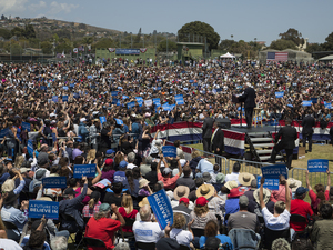 Ahead of the California primary, Sen. Bernie Sanders speaks at a campaign rally at Ventura College on May 26, 2016 in Ventura, California. The