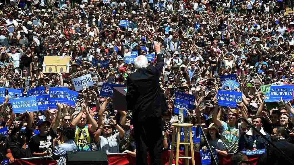 Democratic presidential hopeful Bernie Sanders speaks to supporters at an election rally in Ventura, Calif., this week.
