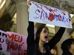 Brazilians protest in front of the Legislative Assembly of Rio de Janeiro on Friday against an alleged gang rape that police say they are investigating.