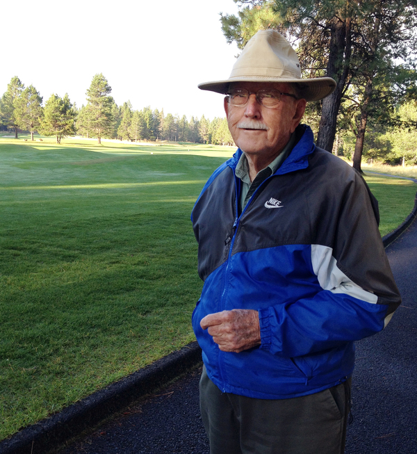 Jim Shute at age 94, out for his morning walk.