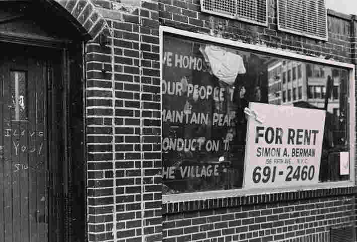 """A """"for rent"""" sign appeared in the window of the original Stonewall Inn bar months after the riots in 1969."""