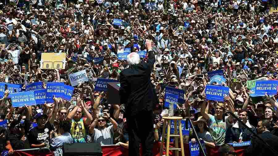 Democratic presidential hopeful Bernie Sanders speaks to supporters at an election rally in Ventura, Calif., this week.