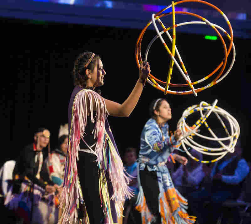 "'The Seven Falls Indian Dancers perform a hoop dance at the live performance of Michel Martin's Going There at Colorado State University Tuesday May 24, 2016. The show was titled, "" The Future of Water.""'"