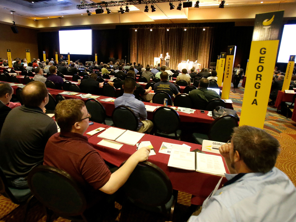 Delegates listen to speeches in the main hall at the National Libertarian Party Convention, Friday, May 27, 2016, in Orlando, Fla. (John Raoux/AP)