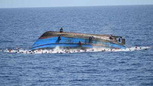 The capsized boat on Wednesday.