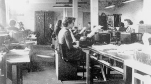 British codebreakers using modified British Typex cipher machines in Hut 6 at Bletchley Park, Milton Keynes, Buckinghamshire in 1942. Bletchley Park was the British forces' intelligence centre during WWII, where cryptographers deciphered top-secret military communiques between Hitler and his armed forces. These communiques were encrypted in the Lorenz code which the Germans considered unbreakable.