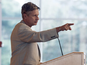 Gary Johnson, a former governor of New Mexico and now the Libertarian Party's presidential nominee, addresses an audience at Macalester College on Sept. 21, 2012, in St. Paul, Minn.