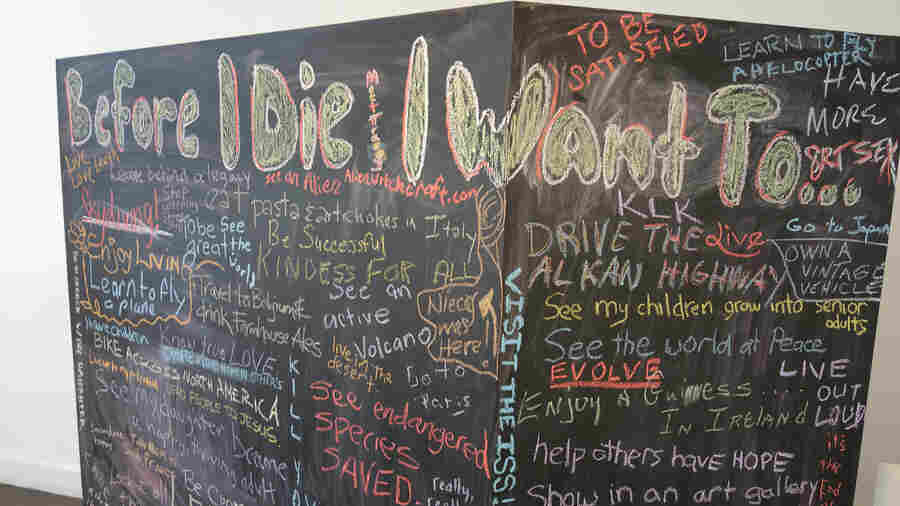 """A chalkboard """"bucket list"""" stirred imaginations and got people talking at an Indianapolis festival designed to help make conversations about death easier."""