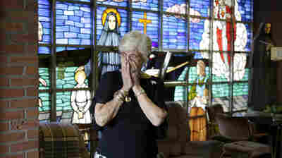 Nancy Shilts helped maintain a round-the-clock vigil at St. Frances X. Cabrini Church Scituate, Mass., for nearly 12 years to protest its closure. Here, Shilts is shown on May 29, before the final service at the church.