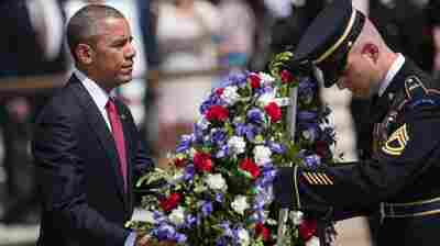 President Obama places a wreath at the Tomb of the Unknown Soldiers at Arlington National Cemetery in Virginia on Monday.